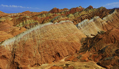 Zhangye Danxia Landform - Autumn afternoon 張掖丹霞 (Clement Tang **bbbusy**) Tags: china travel scenicsnotjustlandscapes nature nationalgeographic autumn afternoon concordians zhangyedanxialandform zhangyedanxiageologicalpark 甘肅張掖國家地質公園 張掖丹霞 sandstone erosion rockformation handheldhdr landscape bluesky whiteclouds ngc npc 絲綢之路