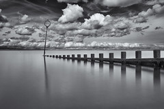 Portobello Beach (Grant Morris) Tags: beach seaside seascape waterscape waterfront water eastcoast edinburgh portobello groins clouds blackandwhite bw monochrome mono grantmorris grantmorrisphotography canon