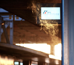 Cigarette smoke at the train station (Michele Ginolfi) Tags: trainstation station train smoke cigarette light rome