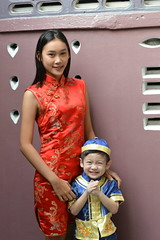 modeling their chinese new year outfits (the foreign photographer - ฝรั่งถ่) Tags: pretty young woman boy khlong thanon portraits bangkhen bangkok thailand showing off chinese new year outfits clothes nikon d3200
