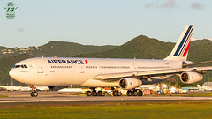 Air France A340 (Green 14 Pictures) Tags: aviation avgeek avporn airplane airport aircraft airlines air airline airfield airways airbus a340 a340300 airbusa340 fglzm af afr airfrance sxm tncm princessjulianainternationalairport sunset quadjet maho mahobeach