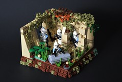 Mission 10.3 - Temple on Cularin (~J2J~) Tags: lego star wars clone trooper brickarms minifigure 253rd legion vignette moc flamethrower blaster crate brickforge temple jungle cularin