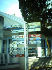 Cedar Key Directional (fullcirclepiece) Tags: tiltshift arrows painted sign directional florida fl cedarkey