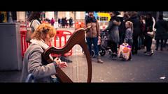 The harpist - Dublin, Ireland - Color street photography (Giuseppe Milo (www.pixael.com)) Tags: harp city urban irish cinematic ireland street people dublin streetphotography busker artist music harpist woman countydublin ie onsale