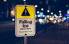 Falling Ice (hector_cbs) Tags: ice sign toronto canada lights bokeh cold night citylights