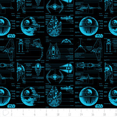 """(Camelot Cottons) Star Wars III, Schematics In Blue • <a style=""""font-size:0.8em;"""" href=""""http://www.flickr.com/photos/132535894@N06/20405913570/"""" target=""""_blank"""">View on Flickr</a>"""