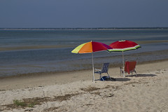 Colorful Umbrellas (brucetopher) Tags: blue summer green beach colors sunshine umbrella bay rainbow sand colorful capecod tide watermelon flats vacant brewster lowtide openspace 500 tidepools vast beachchair emptyseats beachumbrella capecodbay outgoingtide brucetopher