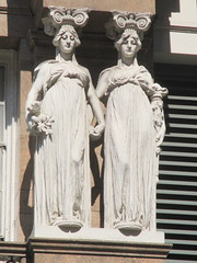 Macys Department Store Lady Caryatid Statues 0948 (Brechtbug) Tags: macys department store caryatid statues down from empire state building 34th street between broadway 6th 7th avenues herald square new york city caryatids atlantid 2014 nyc 09072015 art architecture gargoyle gargoyles statue sculpture sculptures facade figures column columns stores merchandise buildings atlantids women sisters holding hands woman view below by sculptor j massey rhind