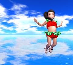 Watermelon in the beach (Kachinni) Tags: cute beach girl kid watermelon secondlife kawaii toddledoo