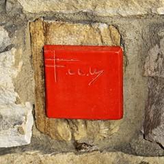 Kentuck Knob ~ Wright signature plate (karma (Karen)) Tags: houses texture pennsylvania vibrant stonework franklloydwright brightcolors chalkhill squared kentuckknob signatureplate