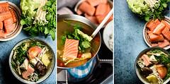 Salmon steamboat (Jedrek Spiewak) Tags: food hot asian soup vietnamese salmon vietnam pot seafood steamboat asianfood hotpot enoki foodphotography ricenoodles