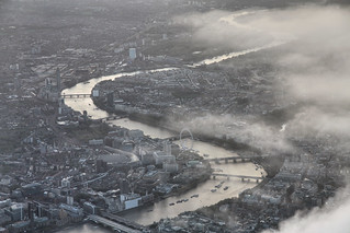 River Thames through Central London, UK, seen from the air