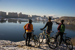 Three bikers (Vadim Gouida) Tags: winter lake snow reflection building landscape view russia moscow neighbourhood bikers