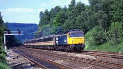 47458. Ambergate 1988. (Alan Burkwood) Tags: ambergate 47458 newcastlepenzance scan 35mm fuji 1988 diesel locomotive