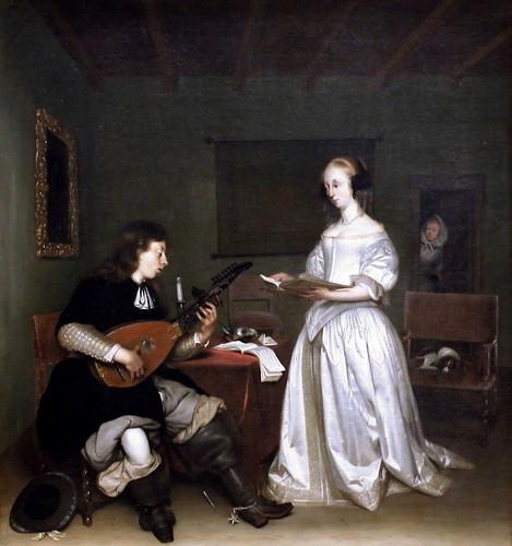 IMG_0595D Gérard Ter Borch 1617-1681. Deventer. Amsterdam. Münster.   Le Duo  Chanteuse et joueur de luth théorbé. The Duo Singer and Lute Player Theorbé.  1669 Louvre