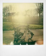 Coucher de soleil sur l'Escaut (@necDOT) Tags: tournai escaut sunset coucherdesoleil polaroid sx70 brompton foldingbike impossibleproject