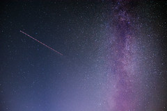 Milky flight (davebugyi) Tags: night nightscape sky stars stargazer milky way purple flight airplane longexposure clearsky nightshot minimal