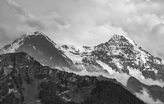Eiger and Mönch (l4ts) Tags: europe switzerland swissalps bern berneseoberland grindelwald lauterbrunnen eiger mönch snow ice glaciers interlaken mountains blackwhite