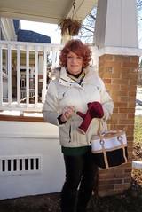 Heading Out Last Sunday (Laurette Victoria) Tags: winter coat auburn purse gloves leggings milwaukee woman laurette