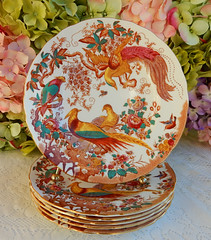 """Royal Crown Derby 8.5"""" Porcelain Salad Plates Olde Avesbury A73 (Donna's Collectables) Tags: royal crown derby 85 porcelain salad plates olde avesbury a73"""