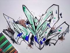 'LETTERS IN MOTION'  - marker on paper 29,7x42cm (adel_one2wh) Tags: graffiti art artwork illustration graffuturism sketch lines architectural adelone2wh painting graphic design letters lettering colors abstract motion artgallery paper marker