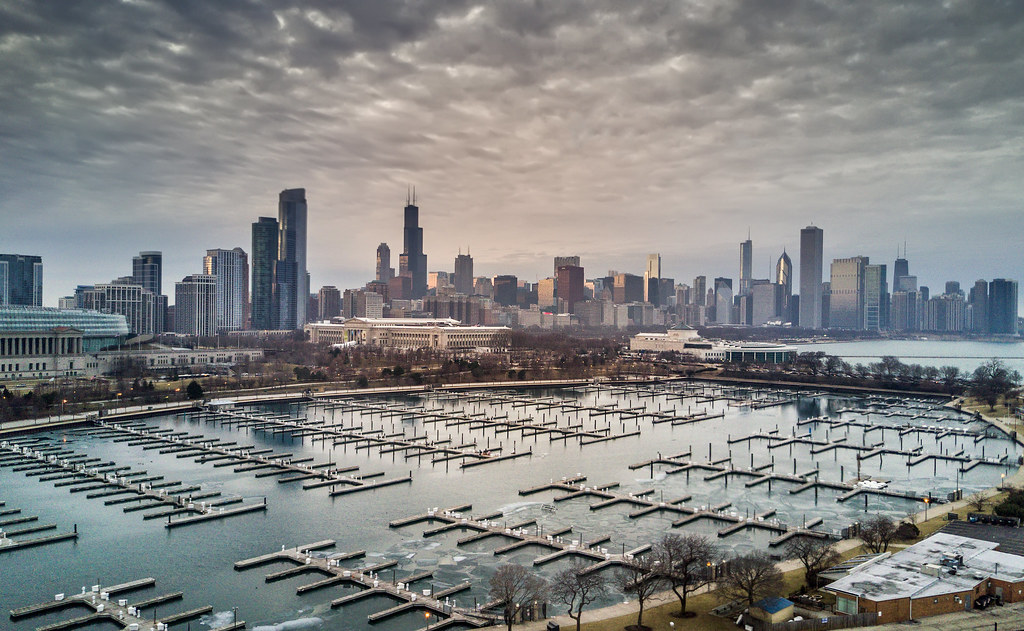 The Chicago skyline from Northerly Island taken with my drone.