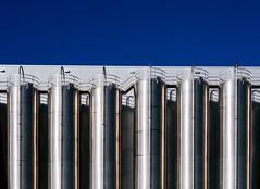 Aligned (toletoletole (www.levold.de/photosphere)) Tags: xt2 cologne fuji porz köln fabrik metall metal rohre factory pipes blue blau reflections spiegelungen abstract abstrakt