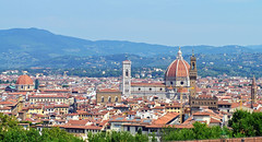 Rooftops of Florence (littlestschnauzer) Tags: city summer italy hot tower sunshine architecture buildings florence nikon italia view rooftops heart cathedral bell fort landmarks sunny august historic tuscany historical firenze belvedere duomo renaissance 2015 giottos d5000