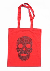 Swirly Skull Tote (black on red) (Wayne Chisnall) Tags: pink blue red orange green yellow skulls skeleton grey screenprint lilac cotton bones forgetmenot bags tote shopper totes deathshead totebags shoppingbags tattoodesign screenprints artprints tattoodesigns sull deathhead screnprint cottonshoppingbags cottontotes artbags skulldesign cottonshoppingbag skulldesigns shopperbags skeletondesign artistsscreenprints colouredtotes skeletondesigns artistsbags greygreenlilac artshoppingbags