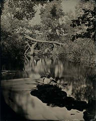 Lacock_2015_011_ (iNOLOGIST) Tags: trees portrait wet water zeiss self reflections river shadows plate stick iphone selfie lacock tessar collodion