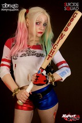 IMG_7338 (Neil Keogh Photography) Tags: blue red white black girl gold belt gun boots cosplay top trainers gloves goodnight bracelets dccomics pigtails spikes harleyquinn hotpants baseballbat studioshoot fishnettights suicidesquad borderfx modelnataliemiddlehurst