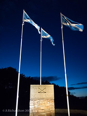 Filte gu Alba! (Welcome to Scotland!) (Tony_Richardson) Tags: monument night freedom scotland crossing wind dusk border north pride flags pole breeze patriotism braveheart fluttering standrew uplight