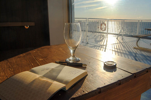 starting my travel diary in a sunny spot on the ferry