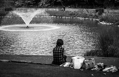 Break Time (graeme murray - digitalplaces) Tags: park flowers autumn people blackandwhite nature water leaves mono watching places southport bnw