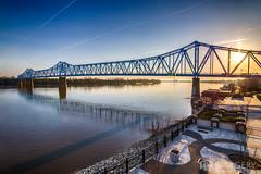 Sunrise Behind Blue Bridge (AP Imagery) Tags: ky kentucky ohioriver owensboro riverfront bluebridge downtown elevated glovercary sky sunrise