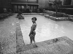 Leanne (BurlapZack) Tags: summer portrait bw pool monochrome swim mono wideangle babe swimmer pointandshoot summertime labordayweekend emptypool waterproofcamera dallastx pack05 addisontx silenceisgolden hummingbirdtattoo vscofilm toughcompact panasoniclumixts20 waterproofcompact