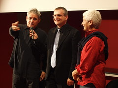 Arnaldo Casali tra l'attore Francesco Salvi e regista Paolo Bianchini