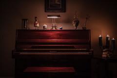 My Piano (Evan's Life Through The Lens) Tags: christmas light vacation music orange college beautiful radio dark photography photo soft shoot candle photoshoot pyramid head song piano radiohead vignette