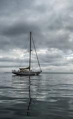 (snlsn) Tags: bayside maine penobscotbay coast coastalmaine summer clouds brooding boat sailboat water harbor kayak