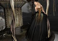 Broken Kingdom (Jamee Sandalwood - Miss V♛ SWEDEN 2015) Tags: sl secondlife slfashion alme azul outdoors outside model blog blogger fashion artphotography art artistic photography shadows gown formal flowers crown carousel