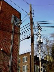 Main Street, Ellicott City, Maryland (A CASUAL PHOTGRAPHER) Tags: telegraphtuesday ellicottcity howardcounty maryland utilitylines utilitypoles canonpowershotsx50hs bridgecameras brickbuildings powerlines transformers