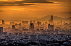 Distant View of Osaka in the Golden Haze (akirat2011) Tags: japan osaka hdr 9xp