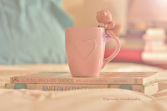 love for crafts (Ifigeneia Vasileiadis) Tags: crafts leisuretime hobby needlework sewing mug love pink matte helios4085mm nikond7200 light bright soft books teddy ornament