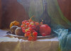 Still Life & Fruits (MargoLuc) Tags: fruits winter wishes new year prosperous colourful pomegranate bottle grapes red blue white greetings happy hope peace light natural window backlight december painting texture skeletalmess