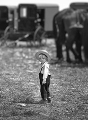 Looking back... (crabsandbeer (Kevin Moore)) Tags: amish boy bw childhood innocence pennsylvania pennsylvaniadutch buggy rawlinsville pa mudsale