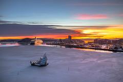 Oslo (morten f) Tags: oslo norge norway dfds danskebåt havn harbour harbor sea sjø hav is ice winter vinter cold sunset solnedgang reflection art kunst she lies sun