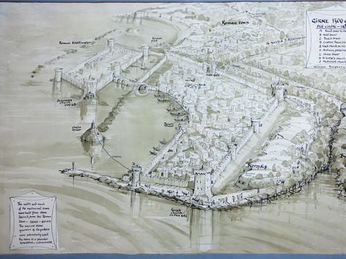 Girne - castle harbour info board