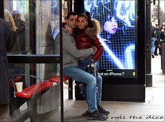 `1910 (roll the dice) Tags: london westminster w1 westend oxfordstreet eros couple love cuddle busstop people natural girl pretty sext bored tears happy streetphotography mad sad uk art classic urban england fashion shops shopping apple denim fur glass reflection phone unaware unknown portrait candid strangers surreal canon londonist tourism chinese asian eyes