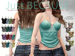 Just BECAUSE Clementine Top - at Collabor88 (Just BECAUSE_SL) Tags: sl jb just because secondlife sexy cami camisole straps ruffle lace broach ties string delicate satin belleza maitreya slink tmp mesh top shirt c88 collabor88