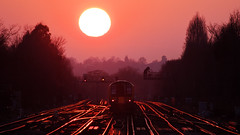 Surbiton Sunset (Flash_3939) Tags: 450033 450080 450554 class450 emu electricmultipleunit southwesttrains swt surbiton sur station sunset sun 1p49 london train rail railway uk january 2017